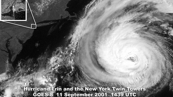 The World Trade Center Twin Towers and Hurricane Erin on Sept. 11, 2001 (Source: New York Metro Weather)