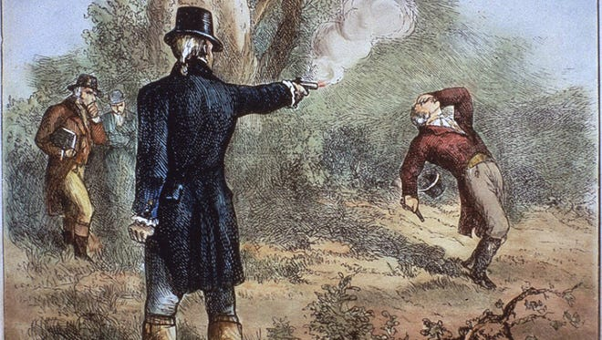 Vice President Aaron Burr (left) fires the fatal shot to Alexander Hamilton during their duel in 1804 in this contemporary illustration.