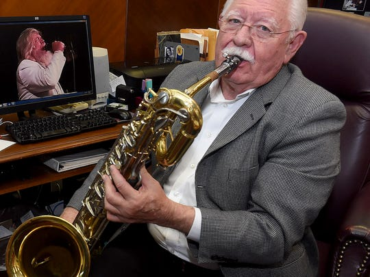 With his baritone saxophone in hand, Earl Taylor talks about his day playing with the Boogie Kings.