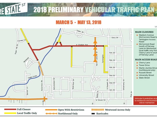 Road closures for March 5 through May 15 for the State Street Project construction.