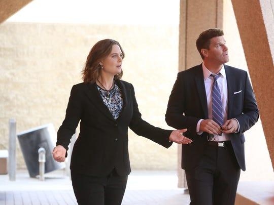 Emily Deschanel, left, and David Boreanaz end Fox's