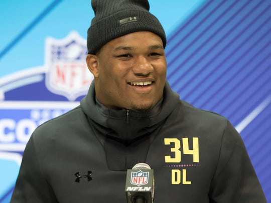 Alabama defensive lineman Da'Shawn Hand speaks to the media during the NFL combine. He was the sixth player from Alabama to be drafted in the 2018 NFL draft.