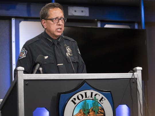 Mesa Police Chief Ramon Batista holds a press conference June 8, 2018, to talk about a third incident within a week that Mesa police have received backlash regarding their use of force.