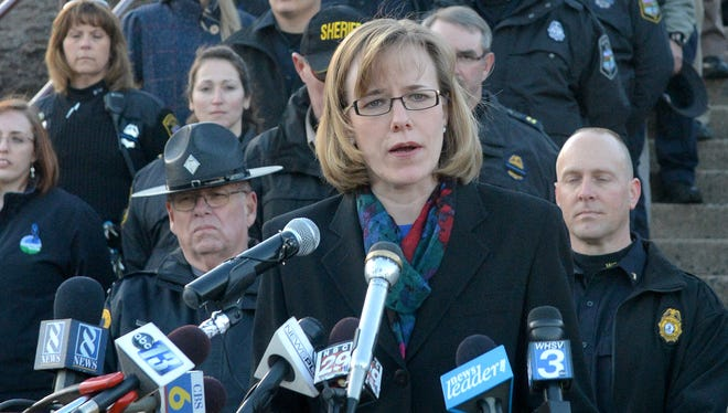 Public relations officer Corinne Geller, of the Virginia State Police, speaks during a news conference Feb. 7, 2014, in Waynesboro, Va., regarding the homicide investigation in the death of Kevin Quick, a Waynesboro reserve police captain.