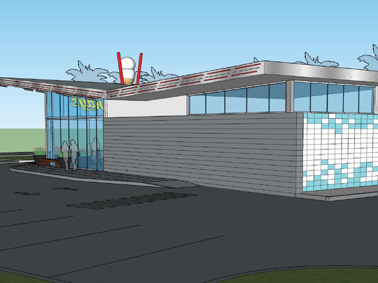 A rendering showing the side of a new layout for Andy's Frozen Custard.