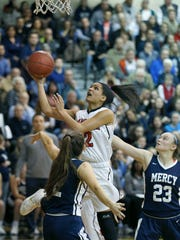 Penfield's Brianne Moxley jumps above Mercy's Maggie