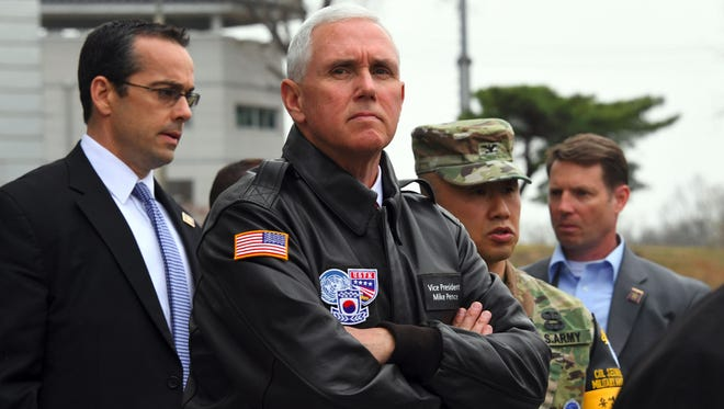 Vice President Pence, center, visits the truce village of Panmunjom in the Demilitarized Zone between North and South Korea on April 17, 2017.