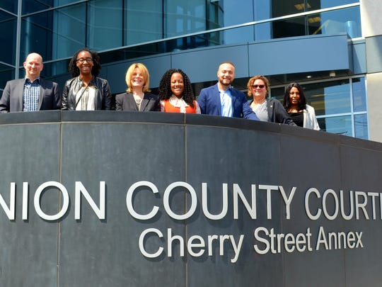Outside the family courthouse in Elizabeth are (from left) newly sworn in CASA volunteers James Anglin of Fanwood, Tiffany Parchment of Elizabeth, Laurie Rando of Scotch Plains, September Patterson of North Bergen, Jaime Castro of Bridgewater, Melinda Giffen Frater of Summit and Kennisha Qualls of Linden. Not pictured is Cranford's Jim Van Horn.