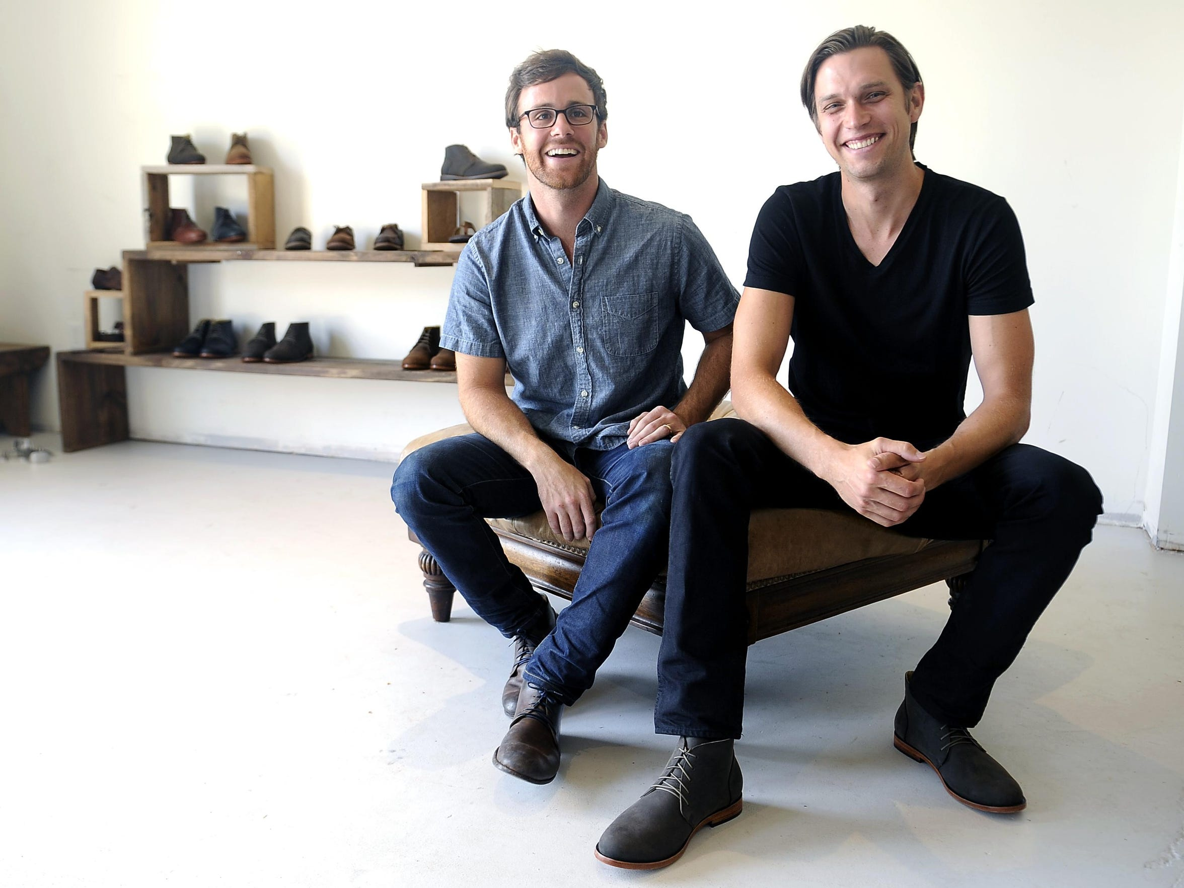 Nisolo, a Nashville social enterprise that sells shoes made in Peru, bought Red Earth Trading Co., a Nashville jewelry company that sells jewelry made in Kenya. Nisolo CEO Patrick Woodyard, left, and Red Earth CEO Travis Gravette are pictured at Nisolo in North Nashville