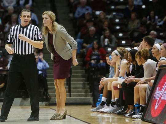 Missouri State head coach Kellie Harper yells at a referee after disagreeing with a foul call during the Lady Bears 90-64 loss to the Bulldogs at JQH Arena on Sunday, Jan. 1, 2017.