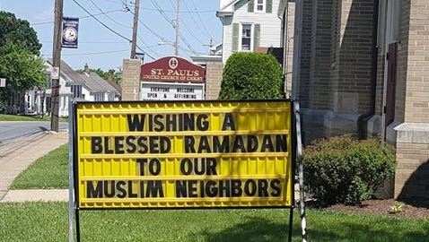 This sign outside St. Paul's United Church of Christ in Dallastown prompted Spring Grove School Board member Matthew Jansen to leave an anti-Muslim voicemail for Pastor Chris Rodkey. Jansen, an elected delegate to the Republican National Convention who supports Donald Trump, also tweeted comments about the sign.
