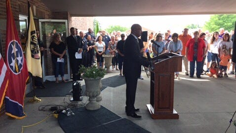 Mt. Juliet Chief of Police James Hambrick addresses a crowd of several hundred at a community prayer service on July 9, 2016, after the shootings that killed five Dallas police officers.