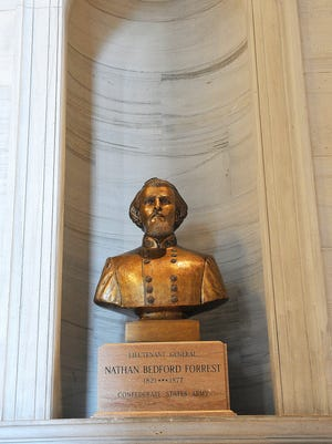 A bust of Nathan Bedford Forrest remains a fixture at the Tennessee State Capital outside the House and Senate chambers.