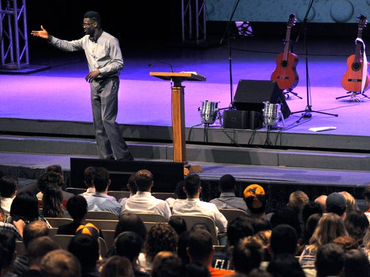 Hardin-Simmons University chaplain Travis Craver addresses students Tuesday at Behrens Auditorium during opening chapel.