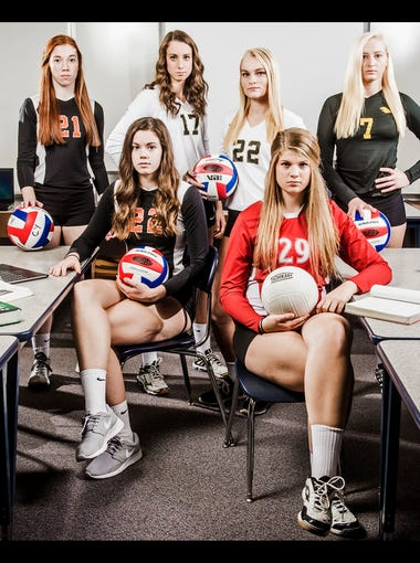 Seated row, from left to right: Central York's Emily Poole and Bermudian Springs' Mady Whitcomb. Back row, from left to right: York Suburban's Jordan Landis, Central York's Emma Saxton, Delone Catholic's Sarah Senft, Delone Catholic's Katie Laughman and Red Lion's Lindsey Blevins.GameTimePA's all-star girls volleyball players. Picture taken Wednesday, Nov. 18, 2015, at Dallastown.