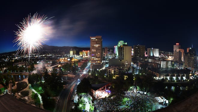 Fireworks light up the sky during the Fourth of July celebration in downtown Reno on July 4, 2018.