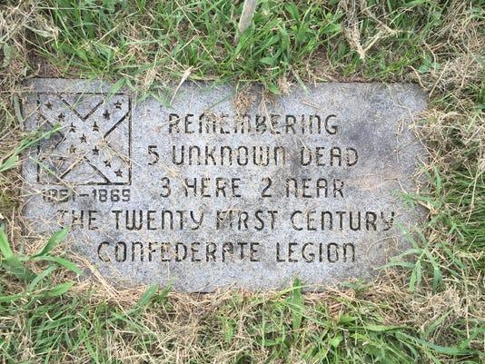 Confederate grave marker in Prospect Hill cemetery.