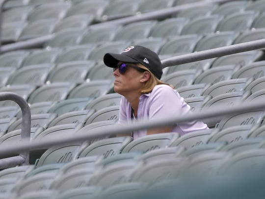Bengals executive vice president Katie Blackburn watches practice from the stands during the team's mini camp at Paul Brown Stadium in downtown Cincinnati on Thursday, June 15, 2017.