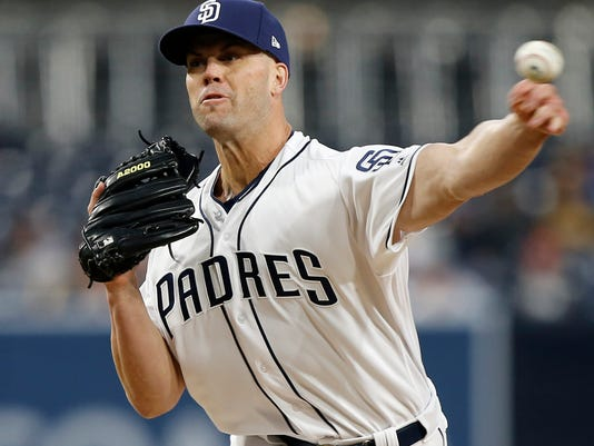 San Diego Padres starting pitcher Clayton Richard throws to a Colorado Rockies batter during the first inning of a baseball game in San Diego, Wednesday, April 4, 2018. (AP Photo/Alex Gallardo)