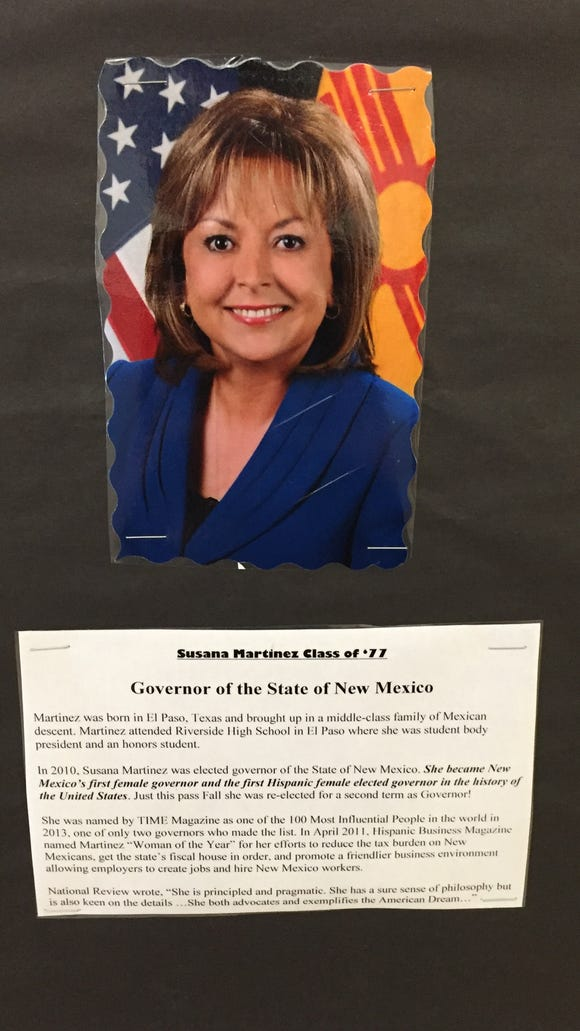 A display at Riverside High School features prominent alumni, including New Mexico Gov. Susana Martinez.