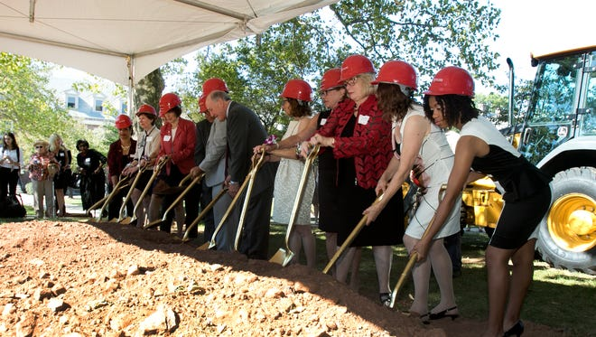 Groundbreaking for the Global Village Learning Center on the Douglass College Campus.the Learning Center will be a 19,000 square-foot, state-of-the-art residential facility that will provide additional dorm rooms, classrooms, and assembly and lounge spaces for lecturers and conferences. Friday September 18, 2015 photo by Ed Pagliarini