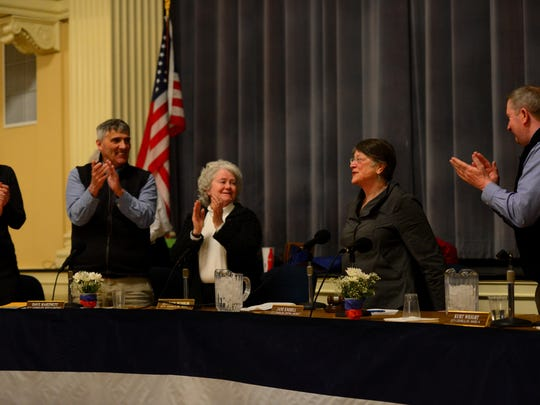 Burlington City Councilor Jane Knodell, second from right, smiles after her colleagues elected her to her second term as council president. From left to right are councilors Joan Shannon, D-South District; Dave Hartnett, I-North District; Sharon Bushor, I-Ward 1 and Kurt Wright, R-Ward 4.