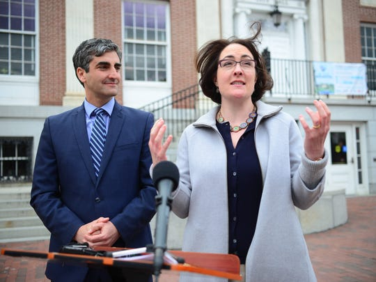 Burlington Mayor Miro Weinberger and Noelle MacKay, his nominee to lead the Community and Economic Development Office, at a news conference in front of City Hall on Monday, May 9, 2016.