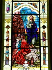 "Stained glass titled ""Easter Morning"" that has been"