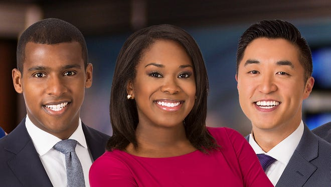 Sheldon Dutes (left) and Andy Choi (right) join Melinda Davenport on the anchor desk of the weekday morning newscast on WISN-TV (Channel 12).