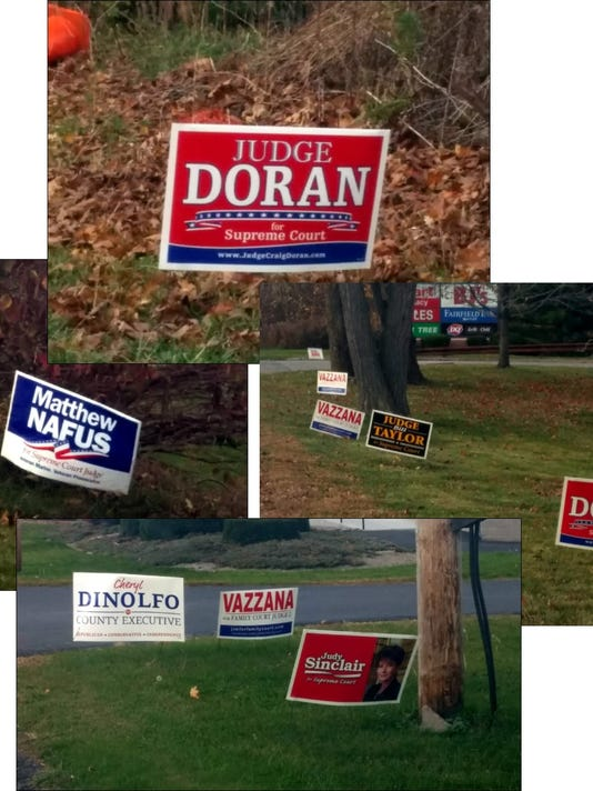 Signs of the times -- still cluttering our roadways almost a week after the election. (M. Rosenberry)