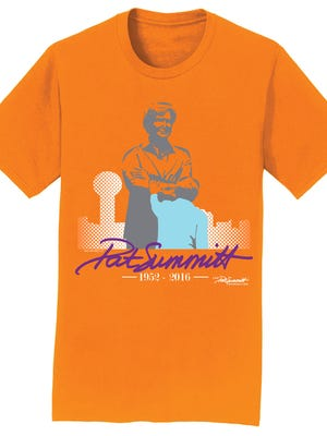 Drawing of the T-shirt the Pat Summitt Foundation along with Bacon & Co. of Knoxville have produced as a memorial honoring the life and career of Pat Summitt. The Foundation's shirt is the only one authorized to use her name and image for this purpose since her death. Most of the proceeds from the sale of the shirts will go to her foundation.