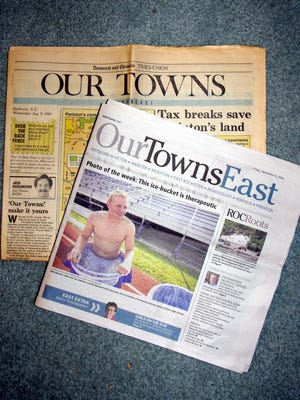 The very first edition of Our Towns with a recent Our Towns East. Two Rosenberry columns, 25 years apart. (Photo: M. Rosenberry)