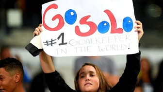 BELO HORIZONTE, BRAZIL - AUGUST 03: A fan of the United States holds up a sign for Hope Solo during the Women's Group G first round match between the United States and New Zealand during the Rio 2016 Olympic Games at Mineirao Stadium on August 3, 2016 in Belo Horizonte, Brazil. (Photo by Pedro Vilela/Getty Images) ORG XMIT: 638919361 ORIG FILE ID: 585718258