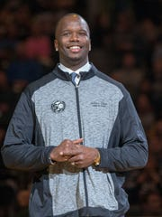 Jermaine O'Neal is honored during a halftime ceremony, Indiana Pacers vs. Miami Heat, Bankers Life Fieldhouse, Indianapolis, Sunday, March 12, 2017. Indiana won 102-98.