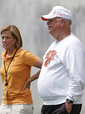 Bengals mini-camp. Cincinnati Bengals president, Mike Brown, right, and Katie Blackburn, executive vice president, chat during mini-camp held at Paul Brown Stadium Tuesday June 10, 2014. The Enquirer/Gary Landers