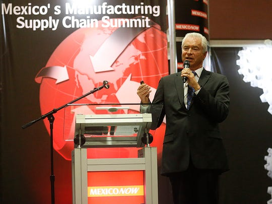 """Alan Russell, CEO of the Tecma Group of Companies, an El Paso company that operates about 50 factories in Mexico for dozens of companies, speaks at a daylong trade show with the theme """"Maquiladoras in the Trump Era,"""" on potential changes to U.S.-Mexico trade."""