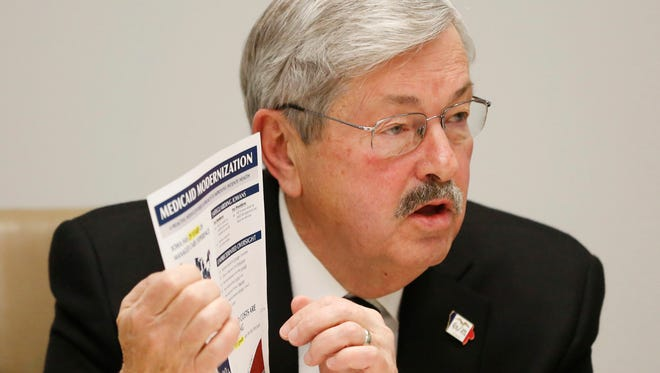Gov. Terry Branstad answers questions from The Des Moines Register editorial board about his Medicaid plan Wednesday, Jan. 13, 2016 in downtown Des Moines.