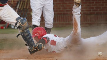 Austin Peay's Logan Gray (15) scores on an inside-the-park home run as Dayton's Kuris Duggan loses the ball during Friday's game in the 2014 Riverview Inn Classic at Raymond C. Hand Park. The Govs won 8-5.  THE LEAF-CHRONICLE/ROBERT SMITH Austin Peay's Logan Gray (15) scores on an inside the park homerun as Dayton's Kuris Duggan loses the ball during Friday's game in the 2014 Riverview Inn Classic at Raymond C. Hand Park. The Govs won 8-5.
