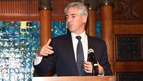 Activist hedge fund manager William Ackman speaks at
