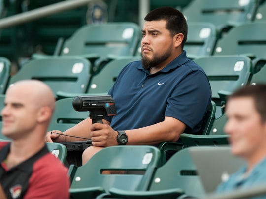 Montgomery Biscuits pitcher Mike Franco tracks pitch speeds against the Birmingham Barons at Riverwalk Stadium in Montgomery, Ala. on Thursday June 22, 2017.