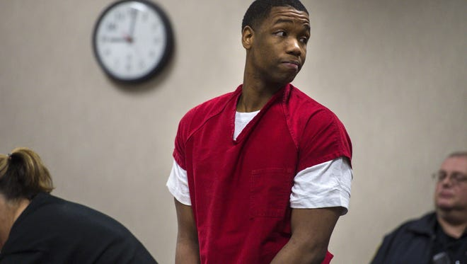 Chavis Murphy is arraigned in Vermont Superior Court in Burlington on Monday, January 4, 2016. Murphy is facing murder charges for the shooting of Obafemi Adedapo in Burlington on December 27.