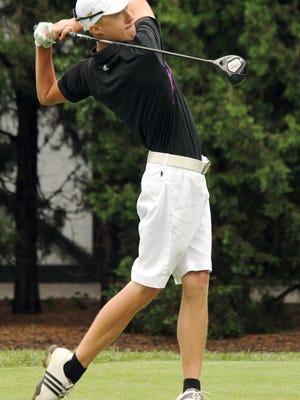 Elder High School graduate Brennen Walsh tees off in the round of 32 during the 104th Annual Tony Blom Greater Cincinnati Men's Metropolitan Amateur Golf Championship in 2013.