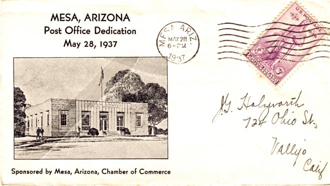 When it was completed in 1937, the Mesa Federal Post Office, depicted on this first-day cover letter, was the only second Federally-built in the Valley. The future home of the Mesa Historical Museum will be open for a first time preview on Saturday's Historic Home Tour.