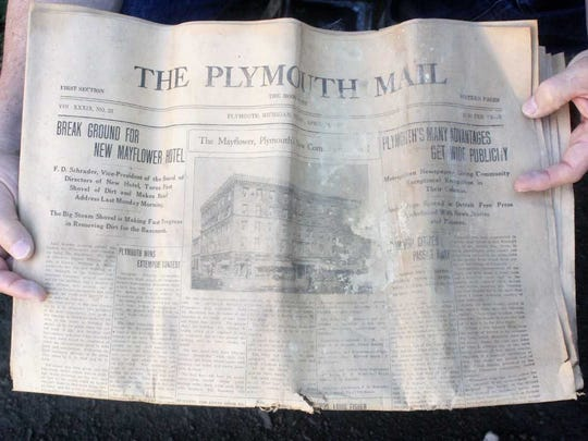 "A 1927 edition of the Plymouth Mail was stored in the time capsule. It announced the ground-breaking for the ""new"" Mayflower Hotel in Plymouth."
