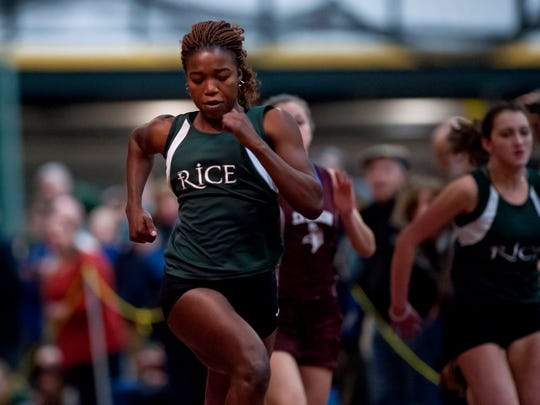 Rice's Sonia John cruises to victory in the girls 55-meter dash at the Division II indoor track state championships at the University of Vermont on Friday night. John finished in 7.35 seconds to set a D-II record and win by nearly half a second.