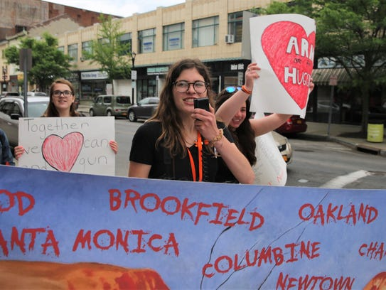 Emmie Magliato, 17, of the Town of Poughkeepsie, leads