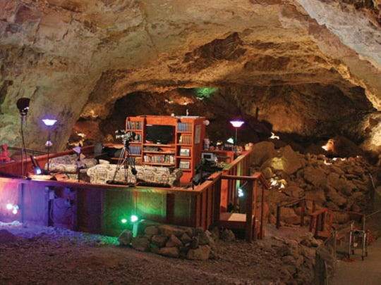 The Cave Room at Grand Canyon Caverns is a comfortable platform suite sitting 220 feet below ground.
