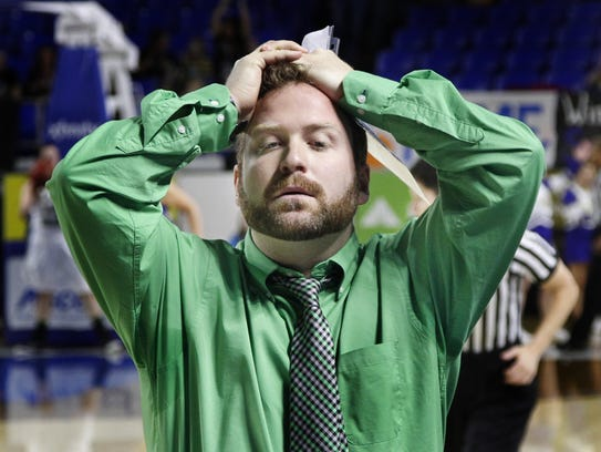 Houston County coach Sam Young reacts after a missed