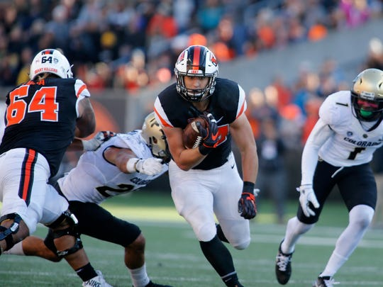 Ryan Nall rushed for 2,216 yards in his OSU career to rank eighth in school history.