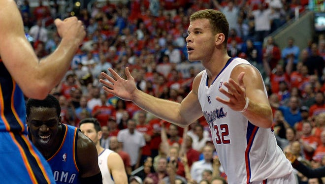 Blake Griffin reacts during the 2014 playoffs against the Thunder at Staples Center.